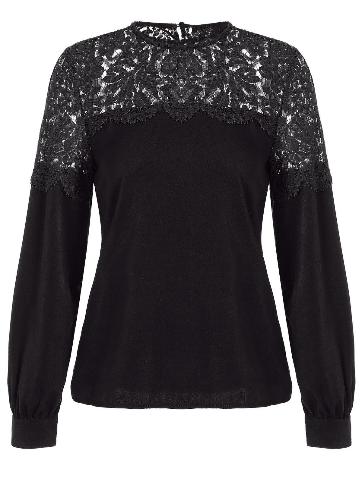Loose Cut Out Lace Spliced Blouse - BLACK XL