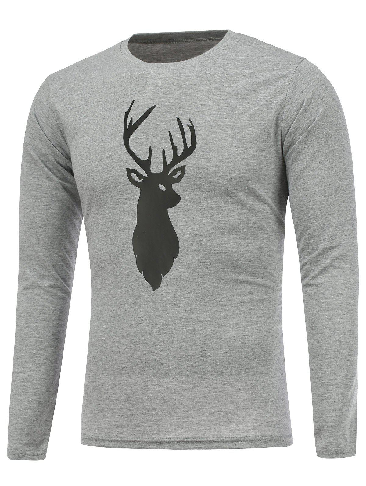 Crew Neck Deer Print Christmas T-Shirt - GRAY L