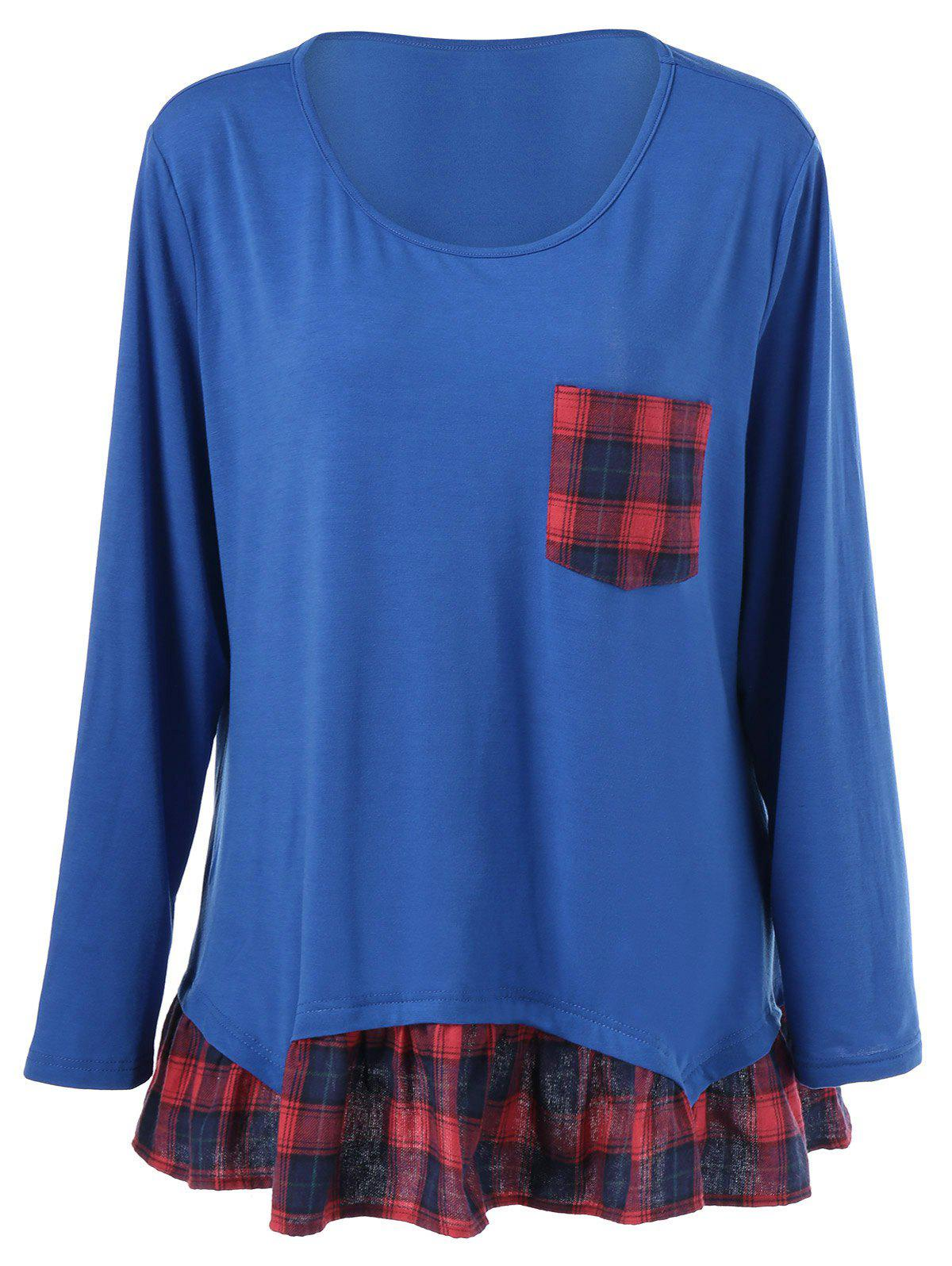 Plus Size Plaid Flounced T-Shirt - BLUE 4XL