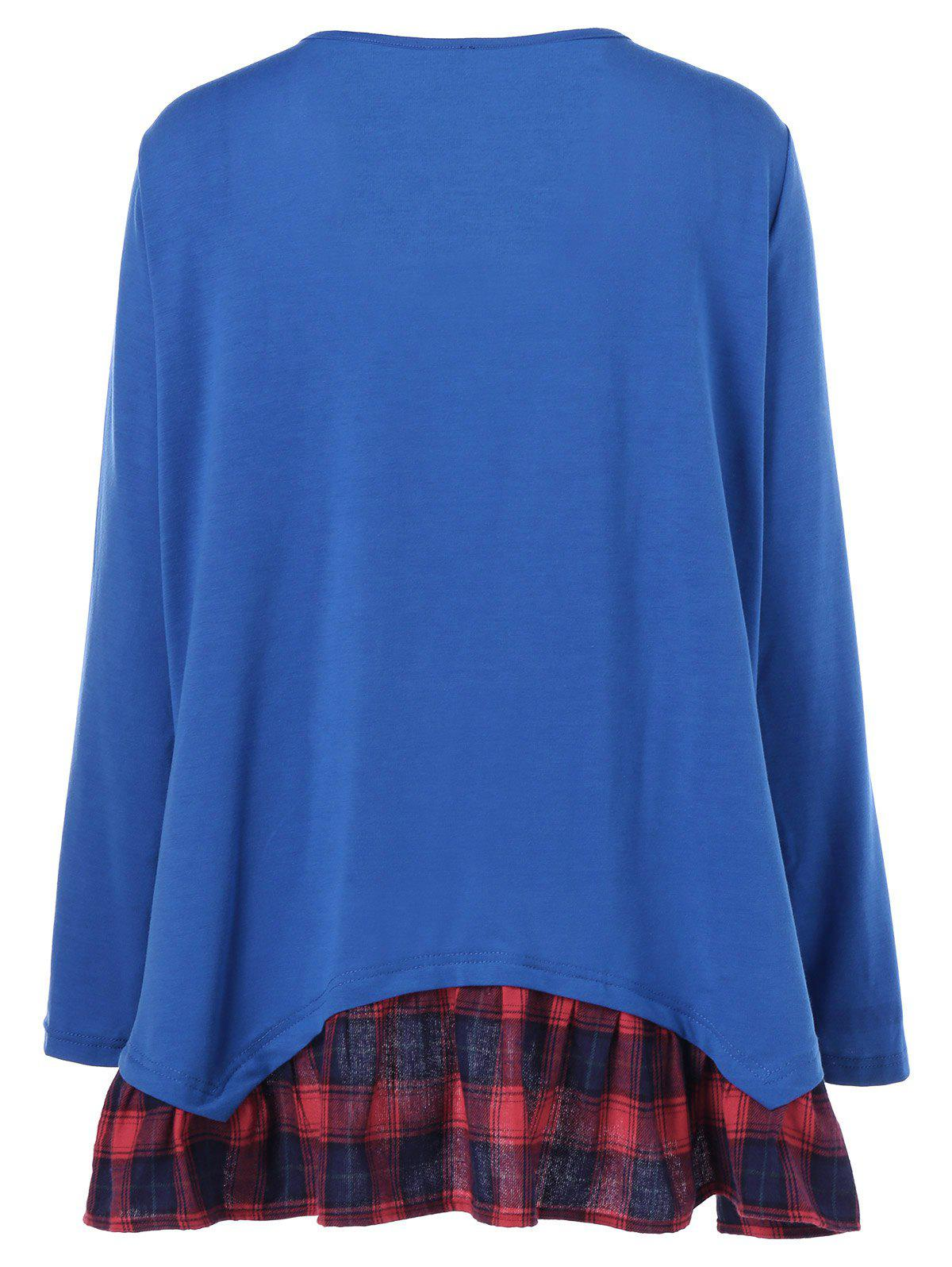 Plus Size Plaid Flounced T-Shirt - BLUE XL