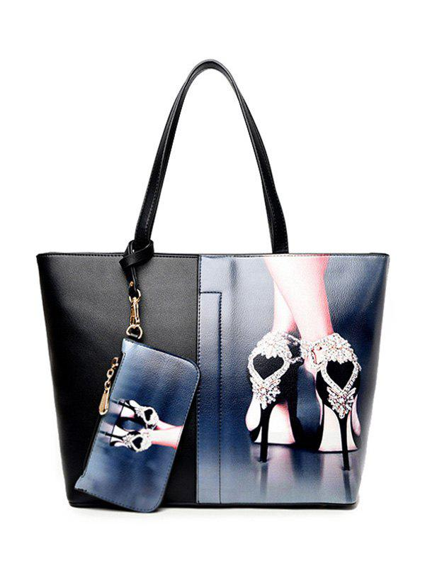 Painted PU Leather Shoulder Bag With WristletBags<br><br><br>Color: DEEP BLUE