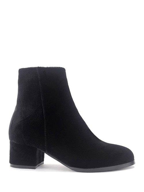 Zip Chunky Heel Round Toe Ankle Boots