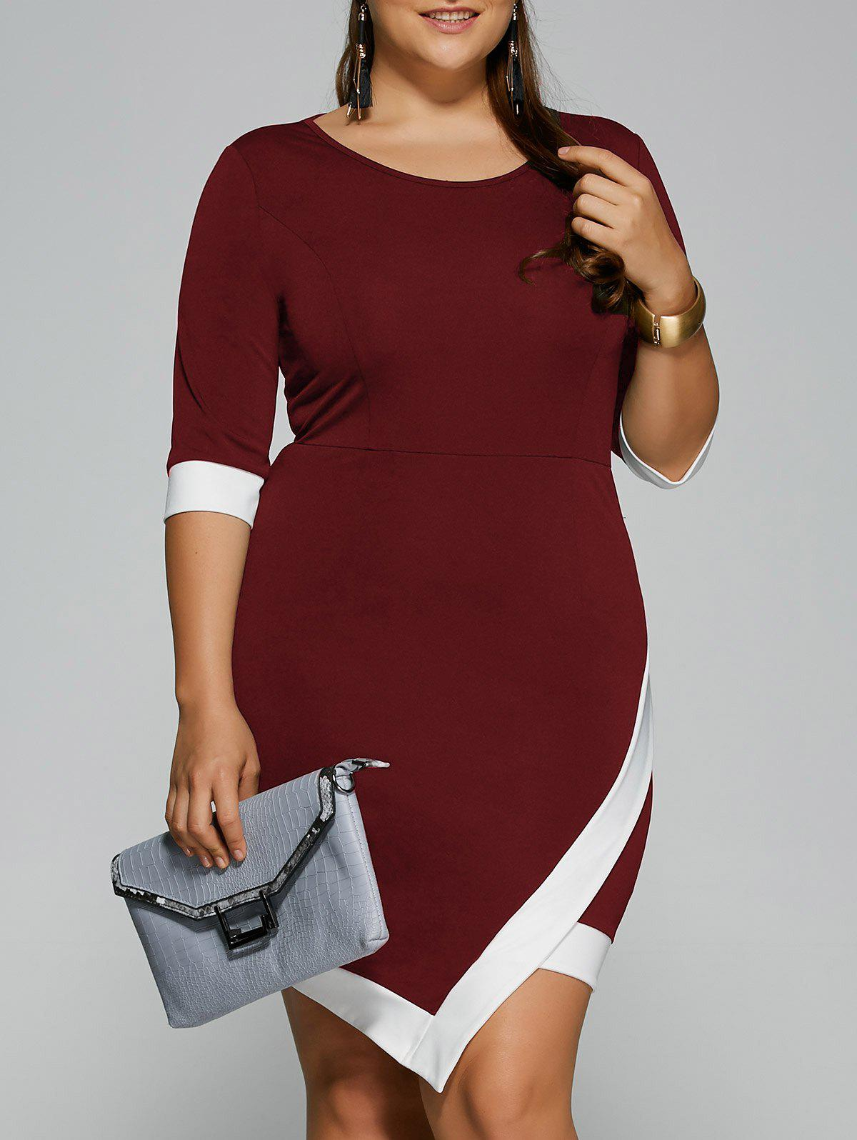 Plus Size Overlap Short Bodycon Bandage Dress - DARK RED XL