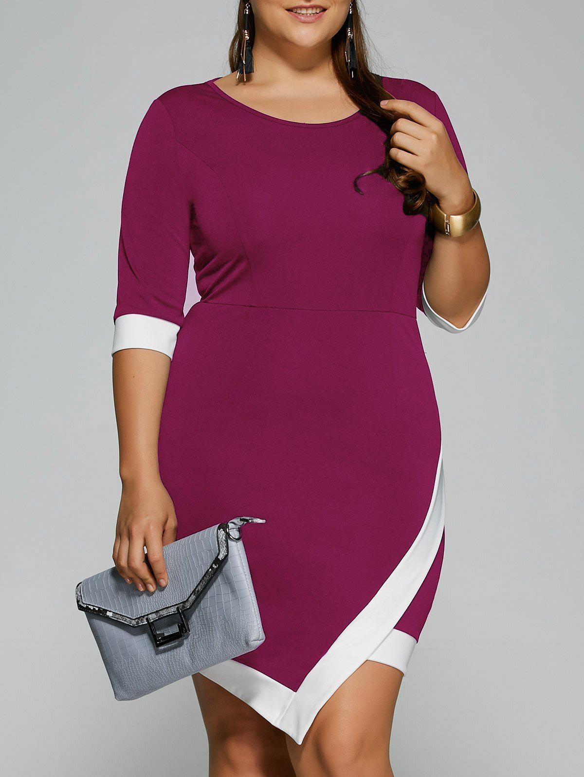 Plus Size Overlap Short Bodycon Bandage Dress - TUTTI FRUTTI XL