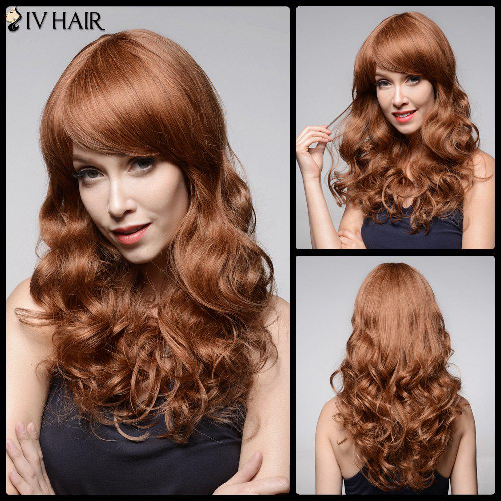 Siv Hair Long Fluffy Side Bang Wavy Human Hair Wig - AUBURN BROWN