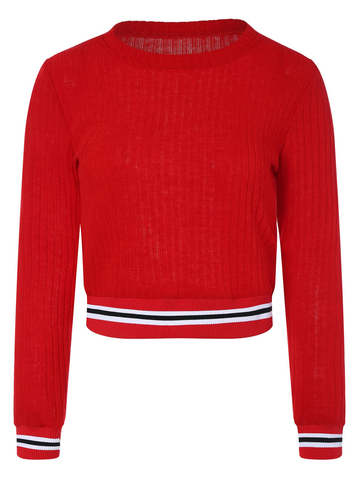 2018 Knitted Cropped Sweater RED XL In Sweaters & Cardigans Online ...