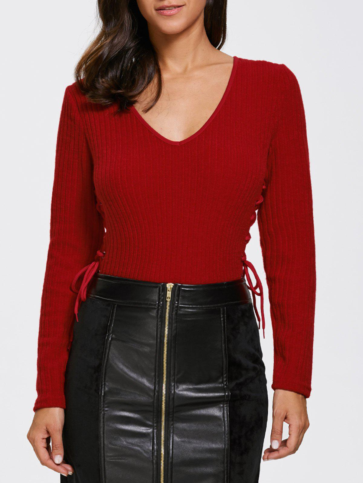Knitted Lace Up Bodysuit - DEEP RED XL