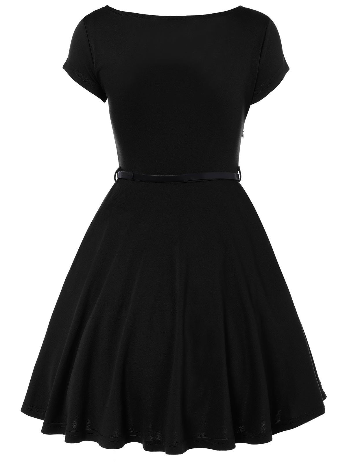 Scoop Neck A Line Dress With Belt - BLACK M