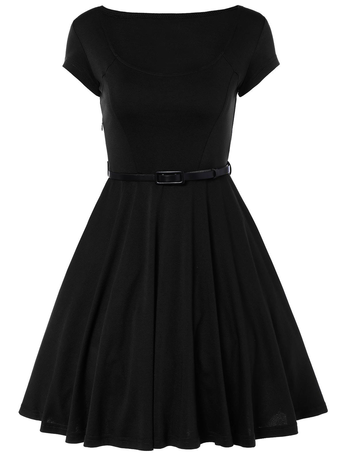Scoop Neck A Line Dress With Belt - BLACK L