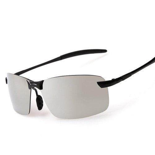 Rectangle Mirrored Rimless Sunglasses - Argent