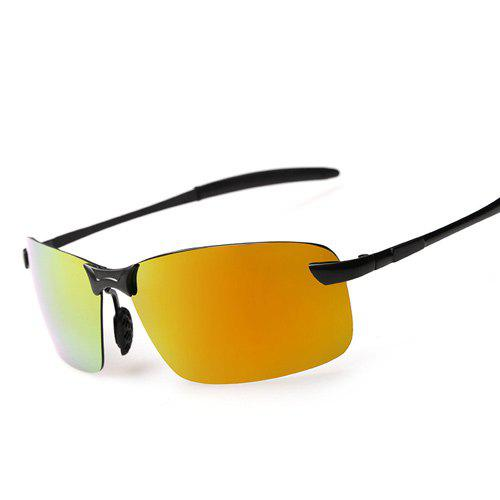Rectangle Mirrored Rimless Sunglasses - Or
