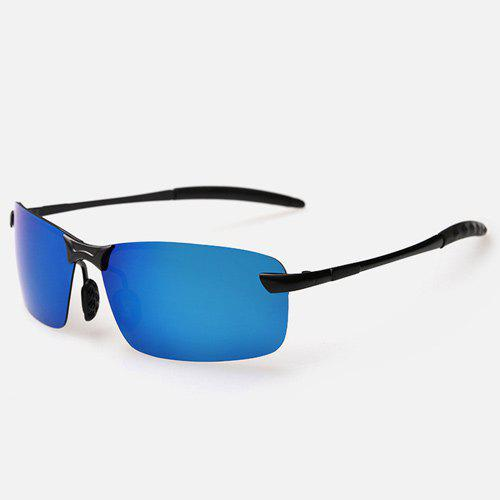 Rectangle Mirrored Rimless Sunglasses - Bleu