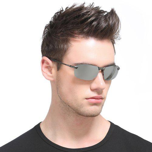 Mirrored Rectangle Rimless Sunglasses - Argent