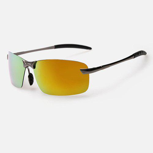 Mirrored Rectangle Rimless Sunglasses - Or