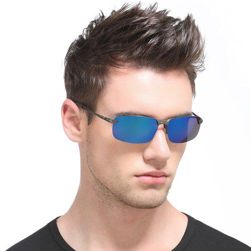 Mirrored Rectangle Rimless Sunglasses - Bleu
