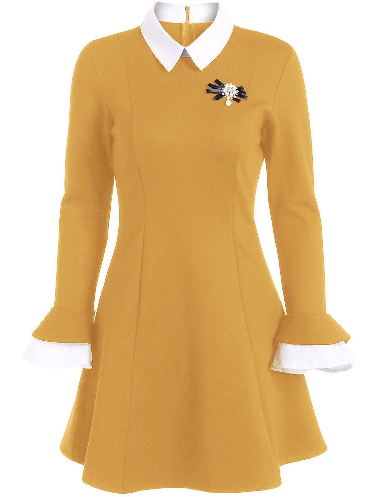 A Line Color Block Dress with Brooch - GINGER L