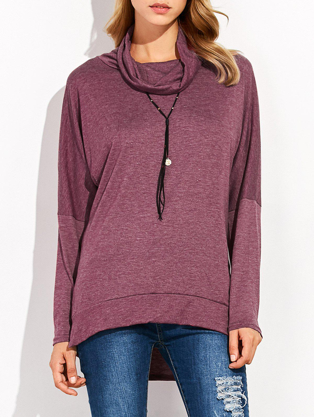 Cowl Collar High Low TeeWomen<br><br><br>Size: L<br>Color: PURPLISH RED