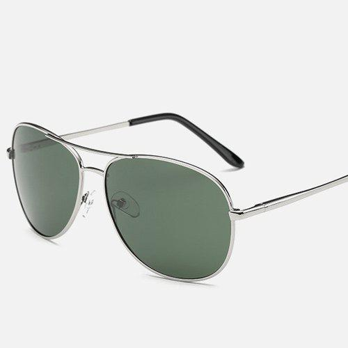 Blackish Green Lens Cross-Bar Pilot Sunglasses - SILVER