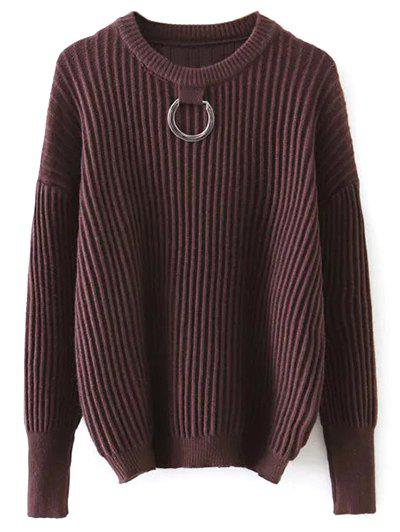 Ribbed Oversized Sweater With Metal RingWomen<br><br><br>Size: ONE SIZE<br>Color: COFFEE