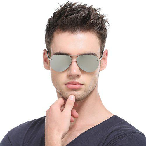 Chunky Leg Cross-Bar Pilot Miorrored Sunglasses - Argent