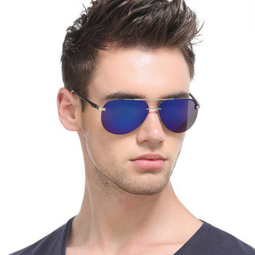 Chunky Leg Cross-Bar Pilot Miorrored Sunglasses - Bleu