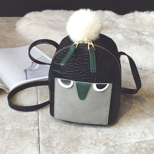 Pompon Cartoon Embossed Crossbody Bag - BLACK