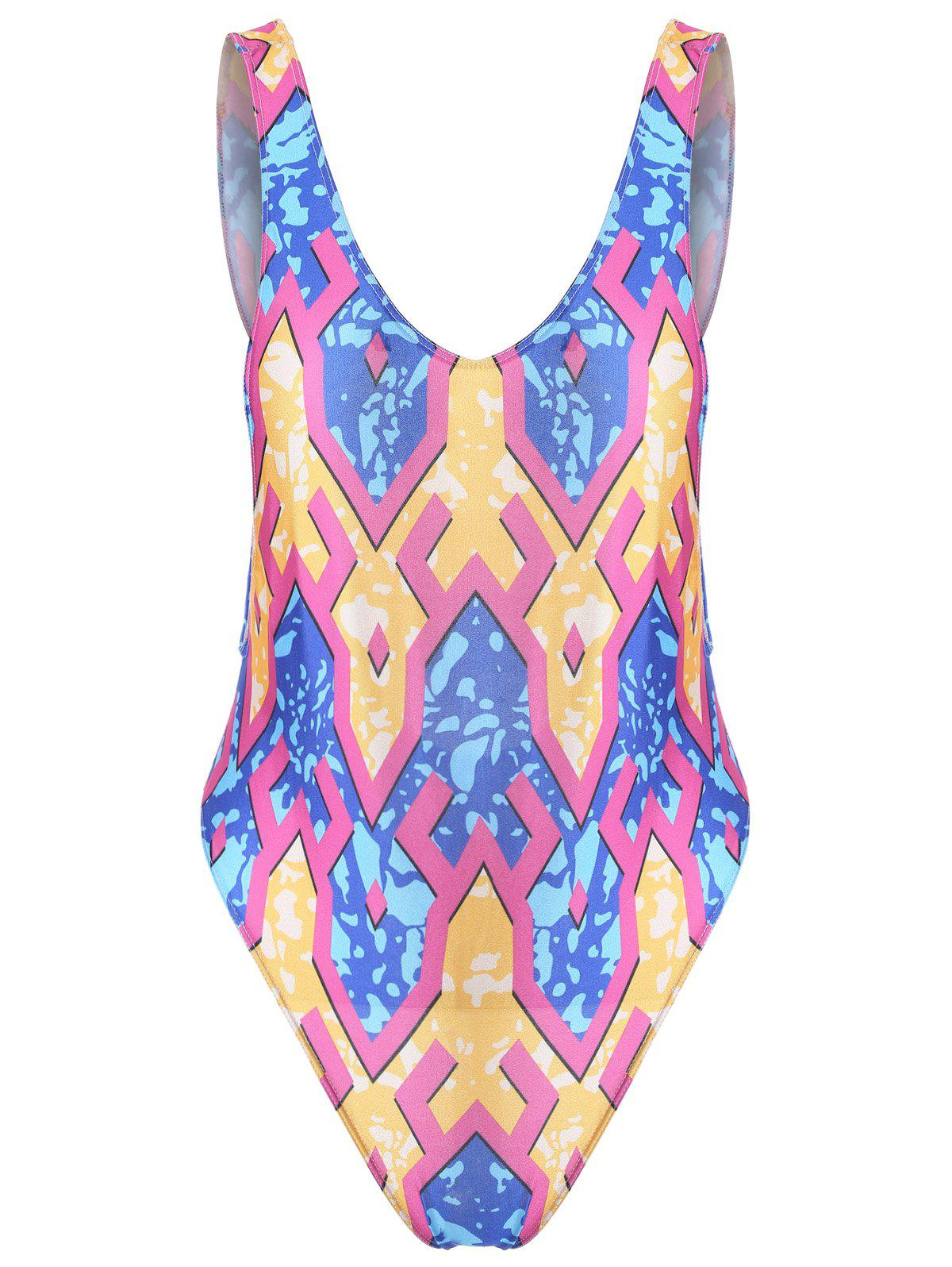 Print Open Back One Piece Tank Swimsuit open back swimsuit