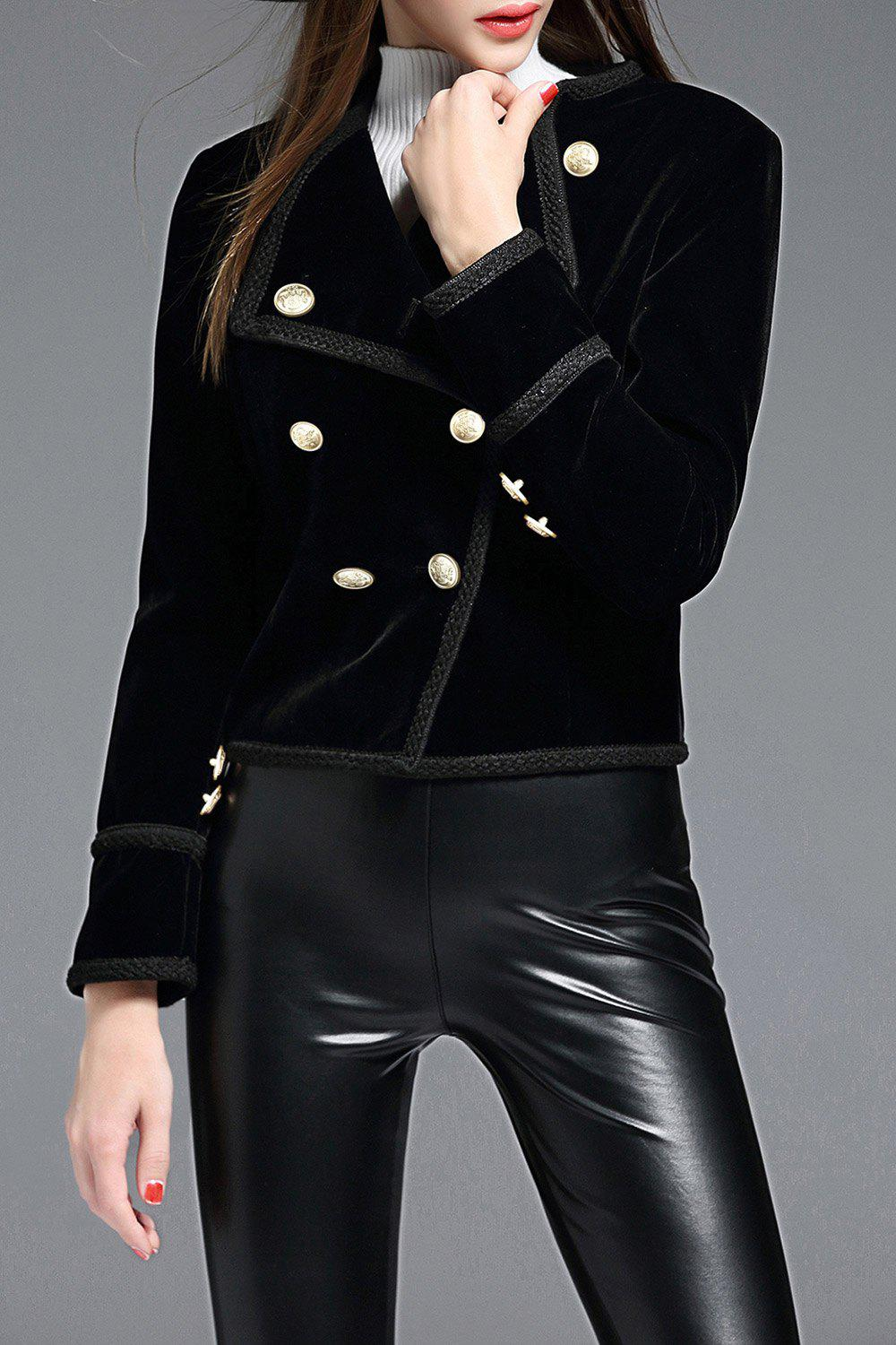 Sheath Velvet Jacket - BLACK S