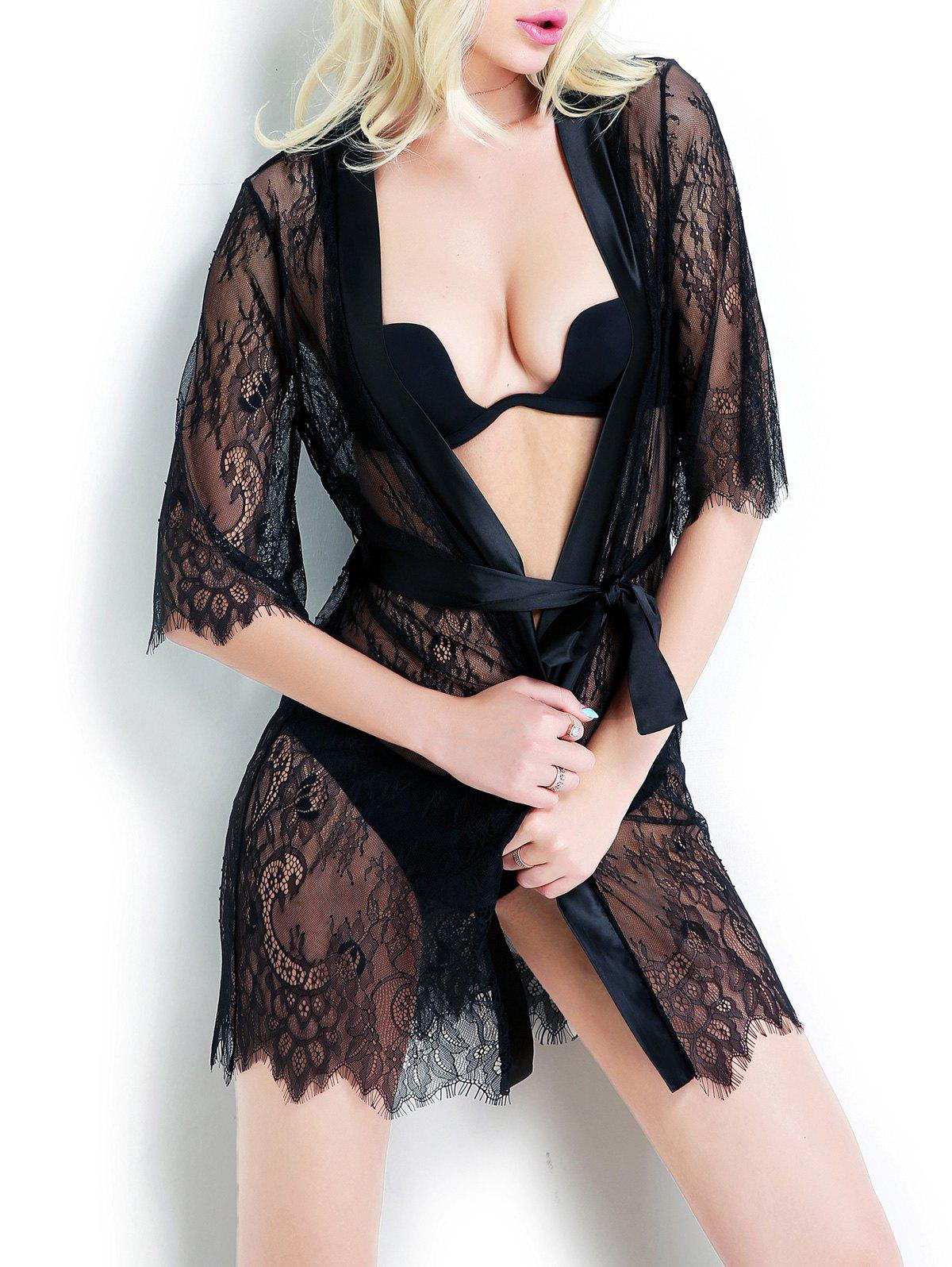 Sheer Tied Up Lace Wrap Sleepwear - BLACK M