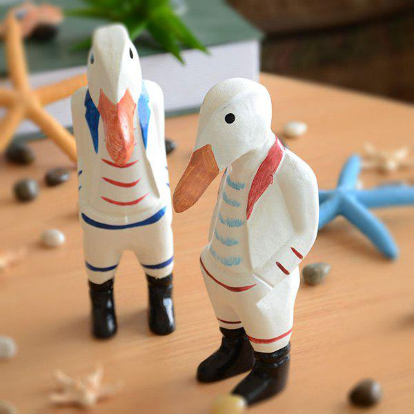 2PCS Handicraft Wood Duck Brother Doll Home DecorationHome<br><br><br>Color: COLORMIX