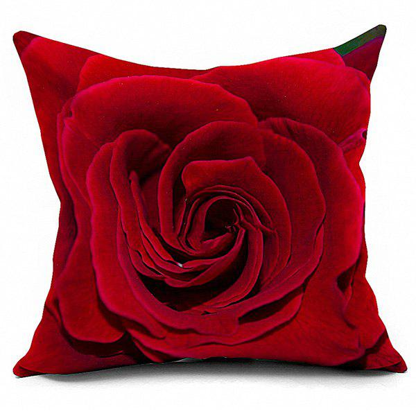 Rose Printed Linen Sofa Cushion Throw Pillowcase - RED