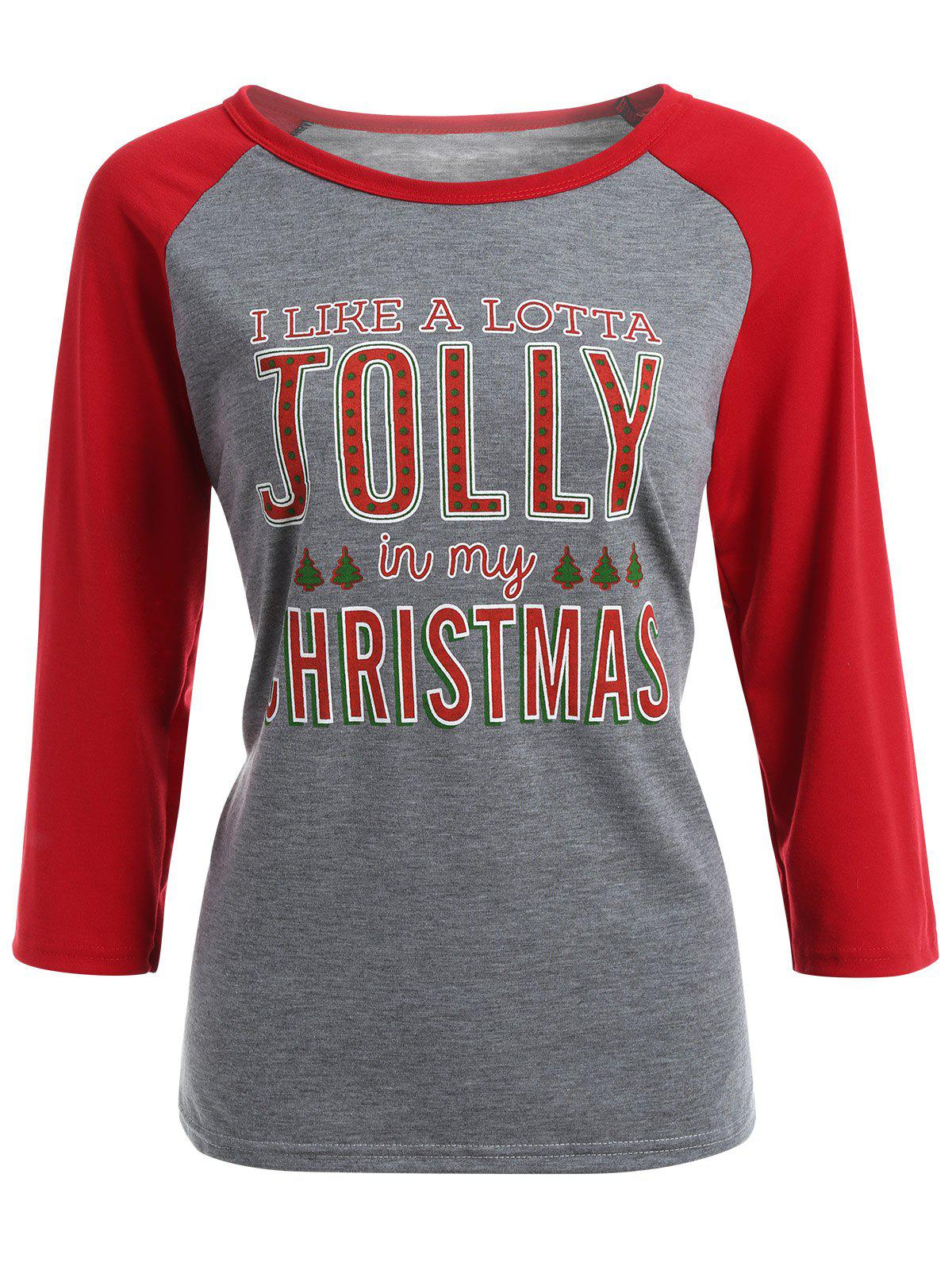 Jolly Letter Raglan Sleeve Christmas T-ShirtWomen<br><br><br>Size: XL<br>Color: GRAY