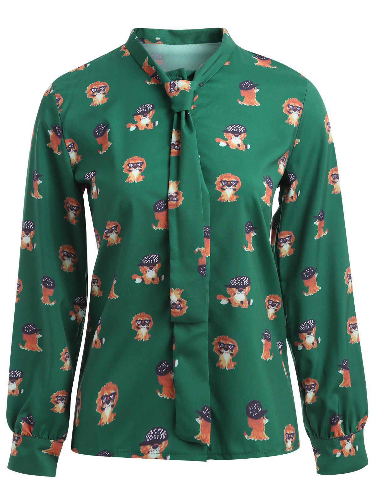 Pussy Bow Puppy Printed Shirt - GREEN M