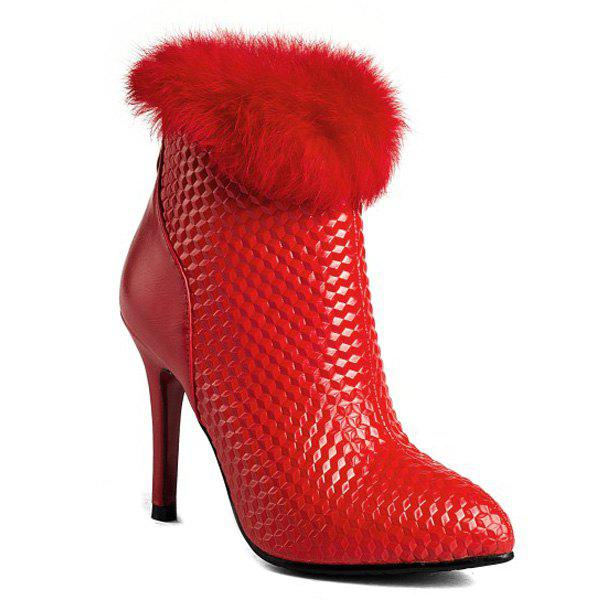 Faux Fur Embossed Stiletto Bottes talon cheville - [