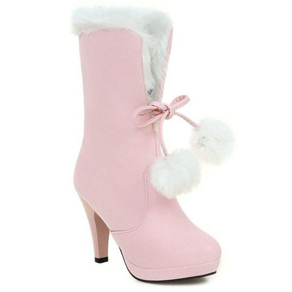 Pompon Mid Calf Cone Heel Boots - PINK 39