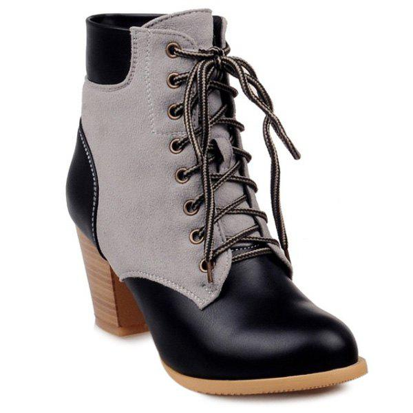 PU Leather Panel Lace Up Chunky Heel Boots - BLACK 39