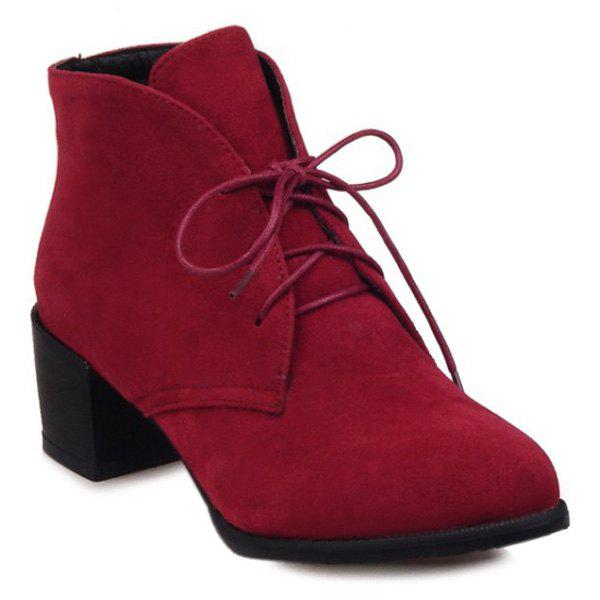 Flock Chunky Heel Lace Up Bottes Bottines - Rouge 38