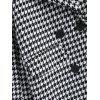 Lapel Houndstooth Double Breasted Coat - WHITE/BLACK L