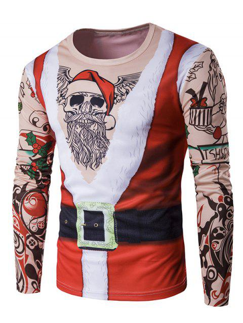 Long Sleeve 3D Father Christmas Costume Tattoo Print T-Shirt - RED L
