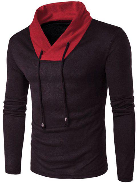 Color Block Stand Collar Knitted T-Shirt - BLACK 2XL