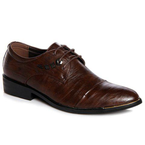 Lace Up Metal PU Leather Formal Shoes - DEEP BROWN 40
