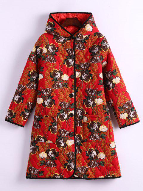 Flower Print Hooded Padded Coat - RED L