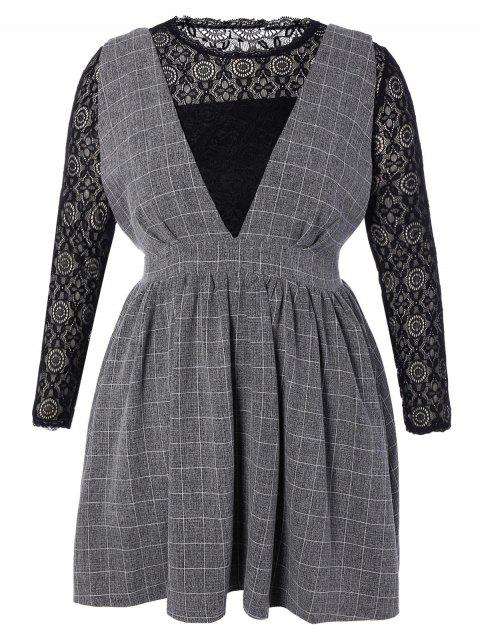 51ecfe4376a 2019 Plus Size Lace Top and Checked Pinafore Dress In DEEP GRAY 4XL ...