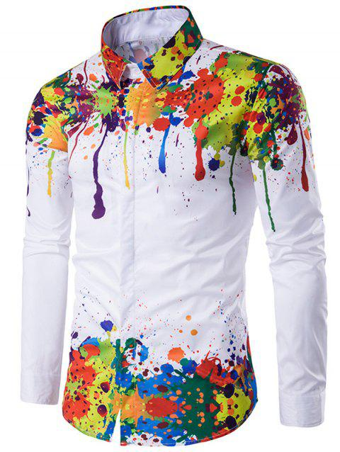 Turndown Collar Colorful Splatter Paint Pattern Long Sleeve Shirt - WHITE XL