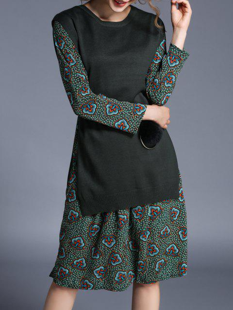 Sleeveless Knitted Top and Printed Dress - ARMY GREEN ONE SIZE