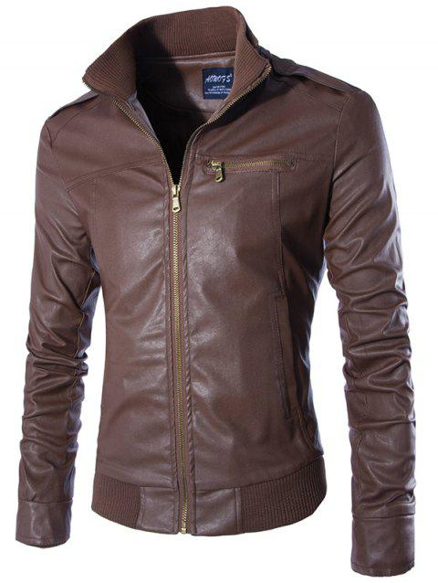 Epaulet Conception Rib Hem Zippered Faux Leather Jacket - Café 3XL