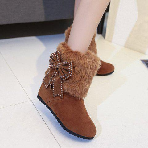 Bowknot Hidden Wedge Furry Snow Boots - BROWN 38