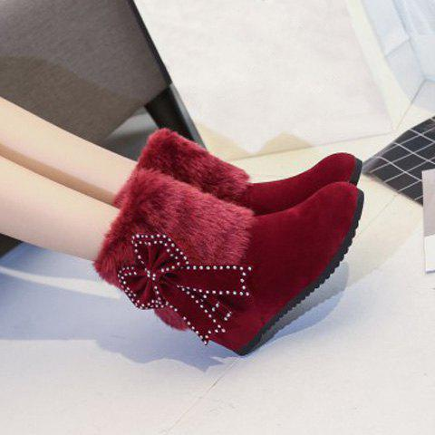 Bowknot Hidden Wedge Furry Snow Boots - RED 37