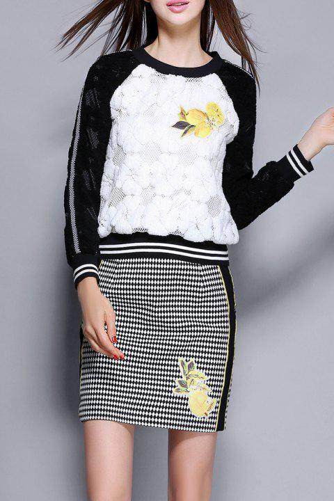 Baseball Lace Sweatshirt With Mini Skirt - WHITE/BLACK L