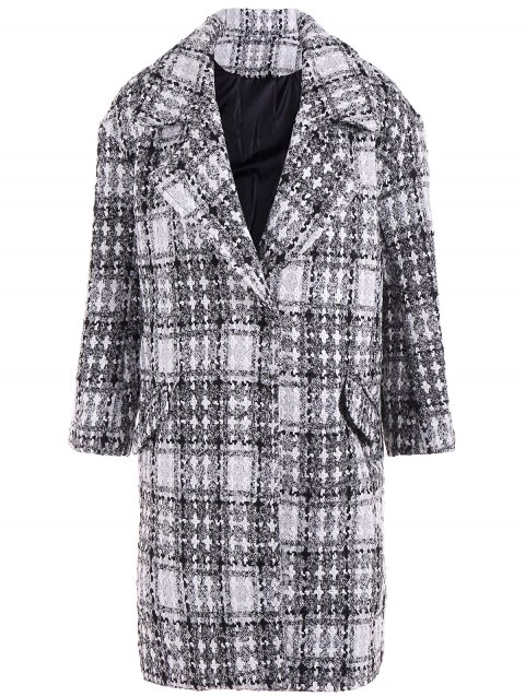 Snap Button Cross Plaid Coat - GRAY XL